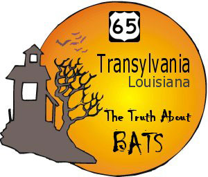 Transylvania - The Truth About Bats graphic with haunted looking house and US65 highway sign